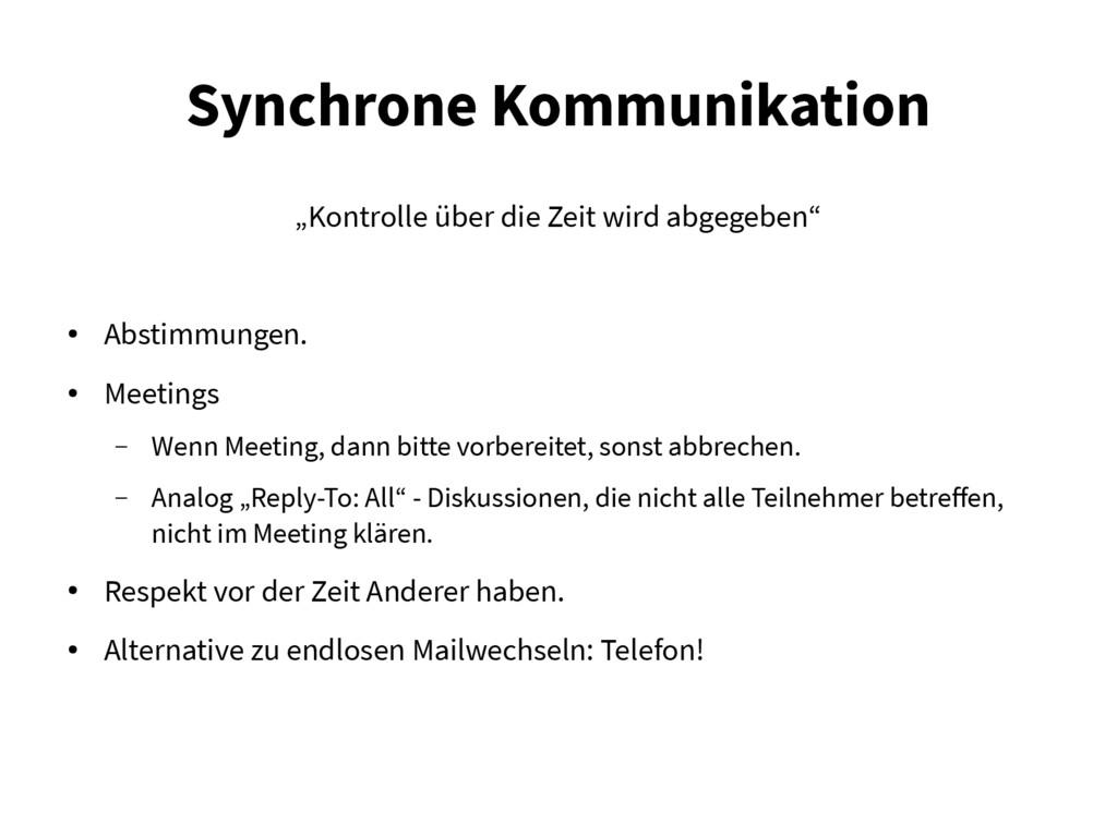 """Synchrone Kommunikation """"Kontrolle über die Zei..."""