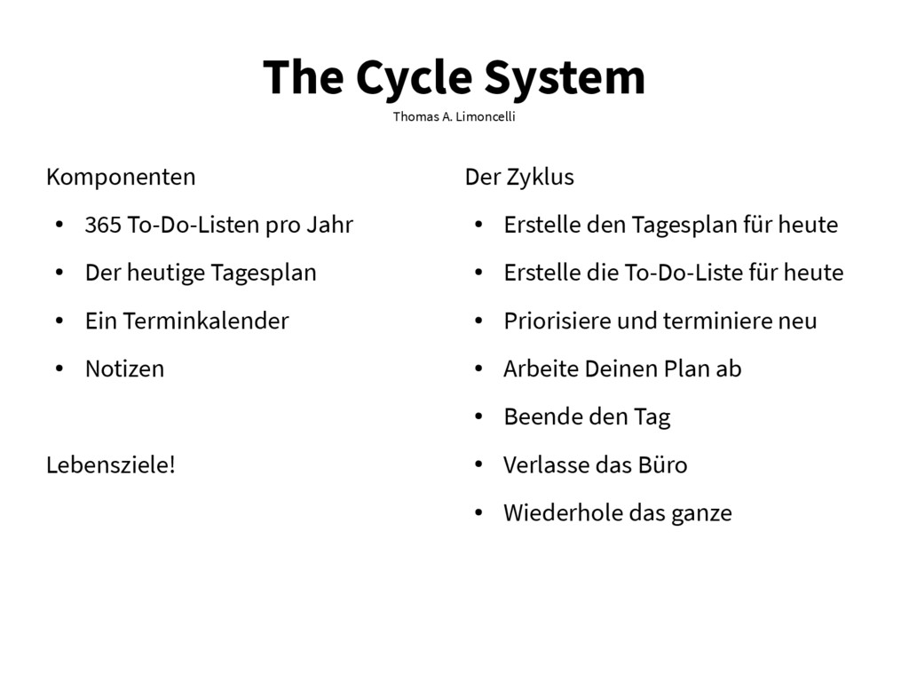 The Cycle System Thomas A. Limoncelli Komponent...
