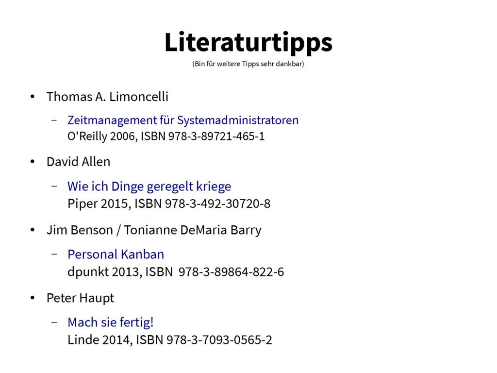 Literaturtipps (Bin für weitere Tipps sehr dank...