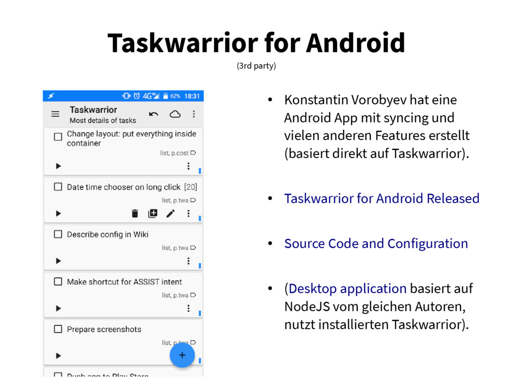 Taskwarrior for Android (3rd party) ● Konstanti...