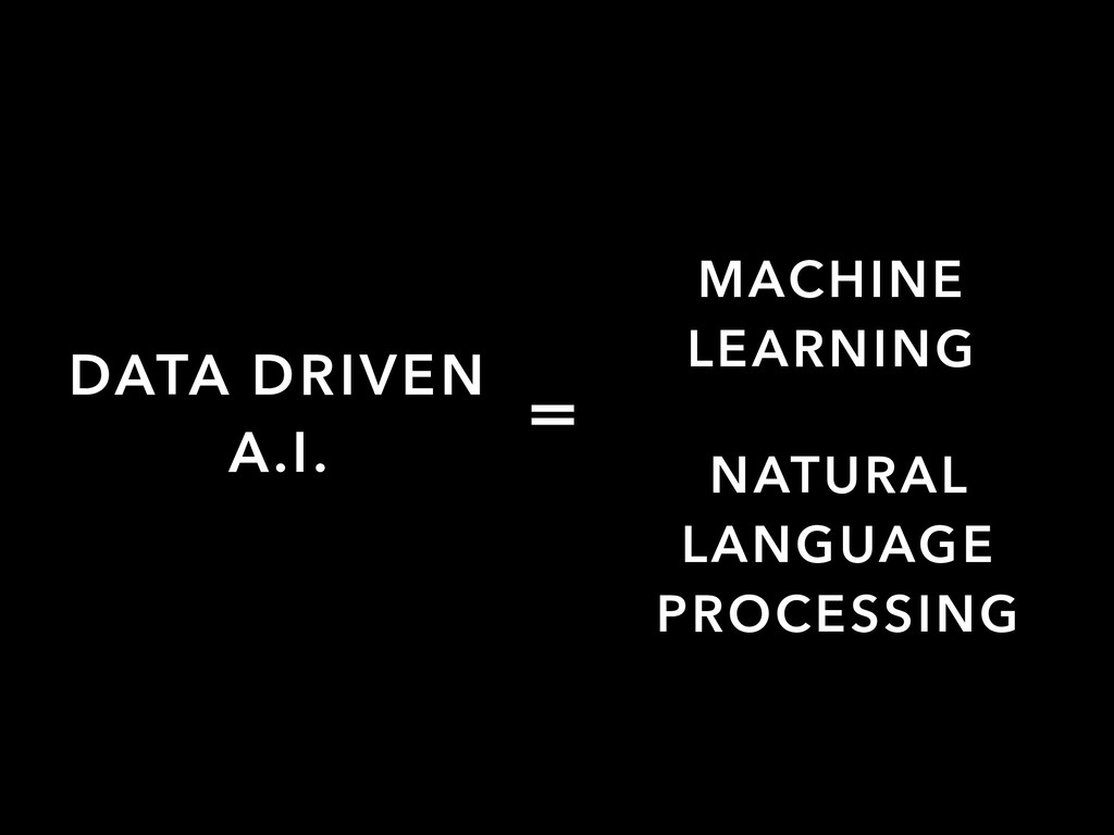 DATA DRIVEN A.I. = MACHINE LEARNING NATURAL LAN...