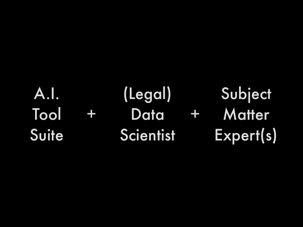 A.I. Tool Suite (Legal) Data Scientist Subject ...