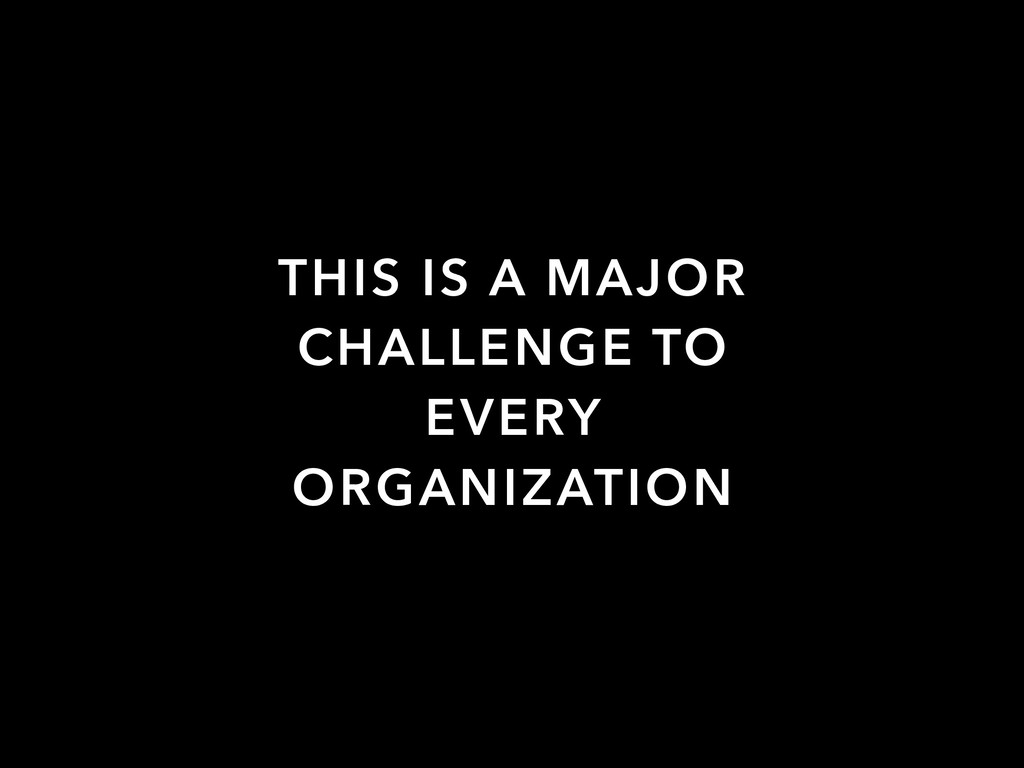 THIS IS A MAJOR CHALLENGE TO EVERY ORGANIZATION