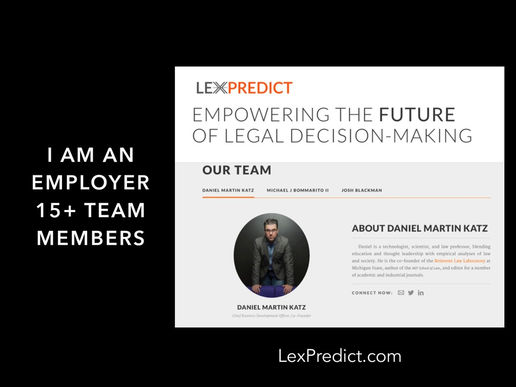 LexPredict.com I AM AN EMPLOYER 15+ TEAM MEMBERS