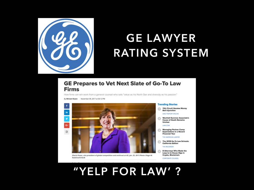 "GE LAWYER RATING SYSTEM ""YELP FOR LAW' ?"