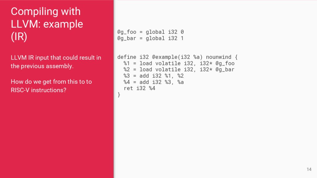 Compiling with LLVM: example (IR) LLVM IR input...