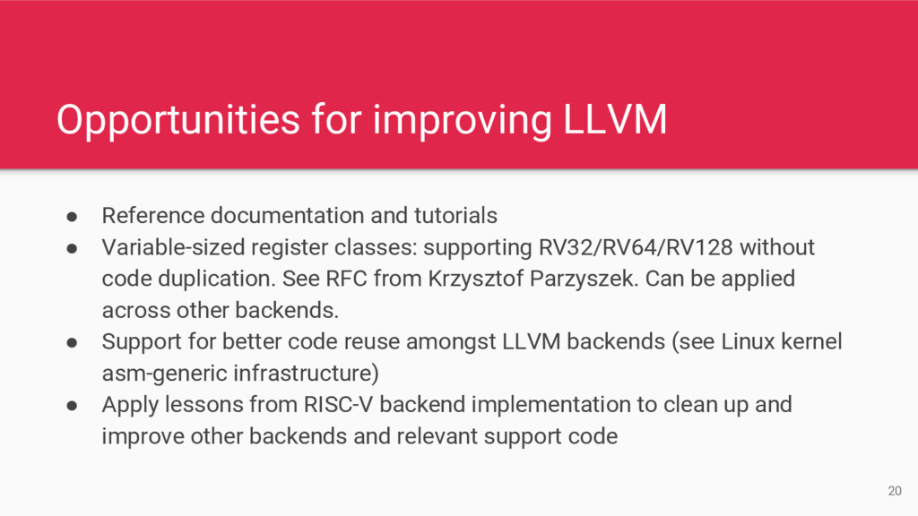 Opportunities for improving LLVM ● Reference do...