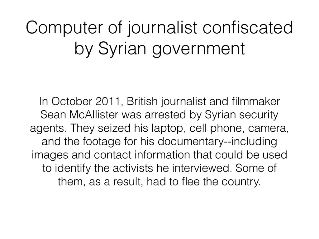 Computer of journalist confiscated by Syrian gov...