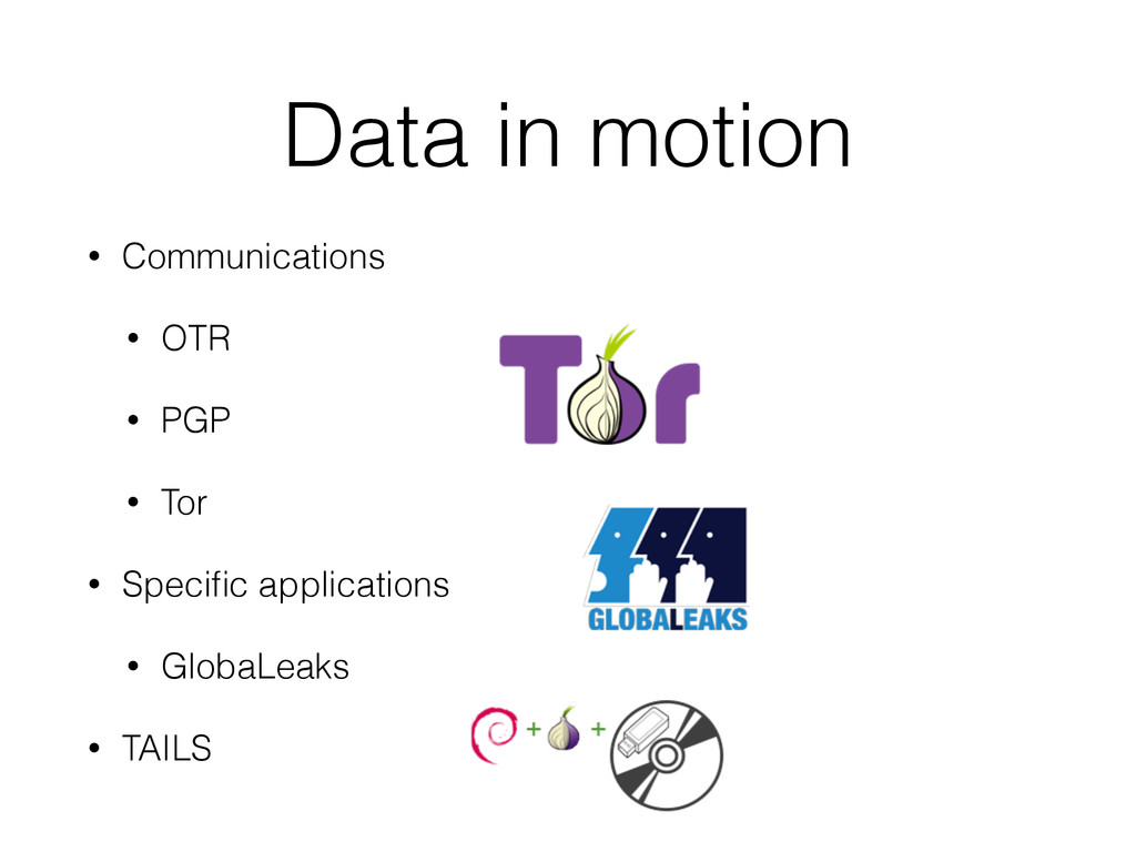 Data in motion • Communications • OTR • PGP • T...