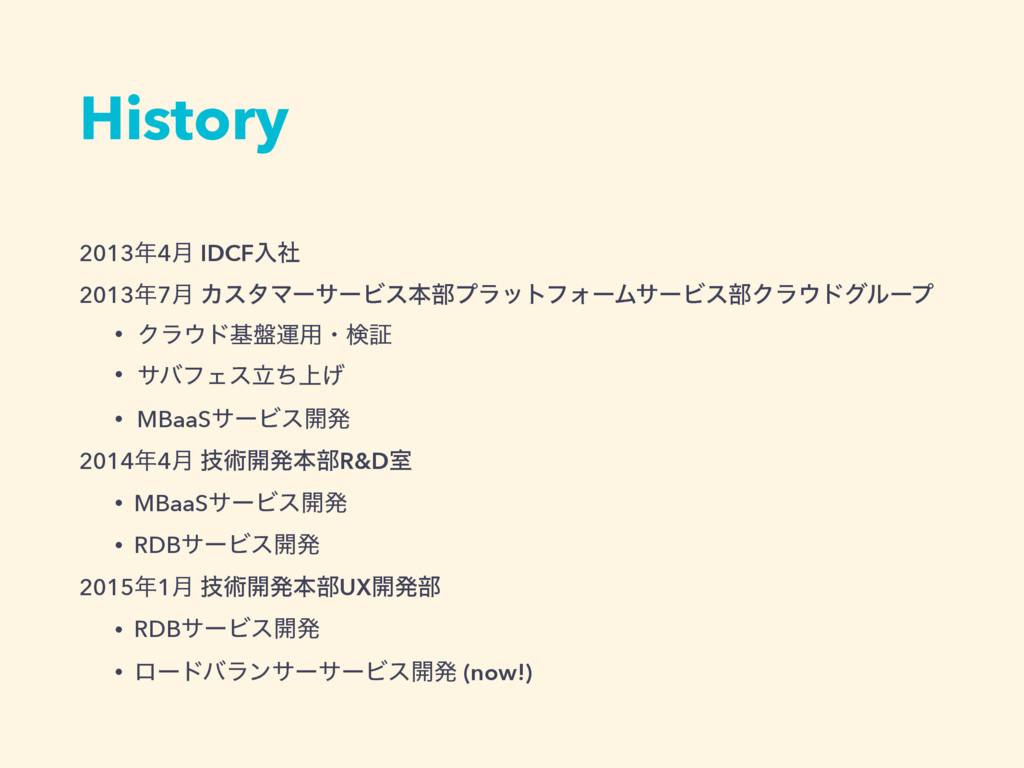 History 20134݄ IDCFೖࣾ 20137݄ ΧελϚʔαʔϏεຊ෦ϓϥοτϑ...