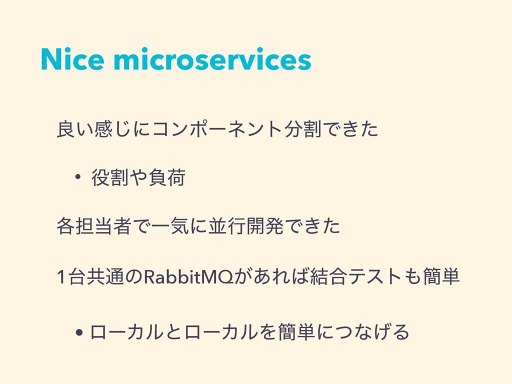 Nice microservices ྑ͍ײ͡ʹίϯϙʔωϯτׂͰ͖ͨ • ׂෛՙ ֤୲...