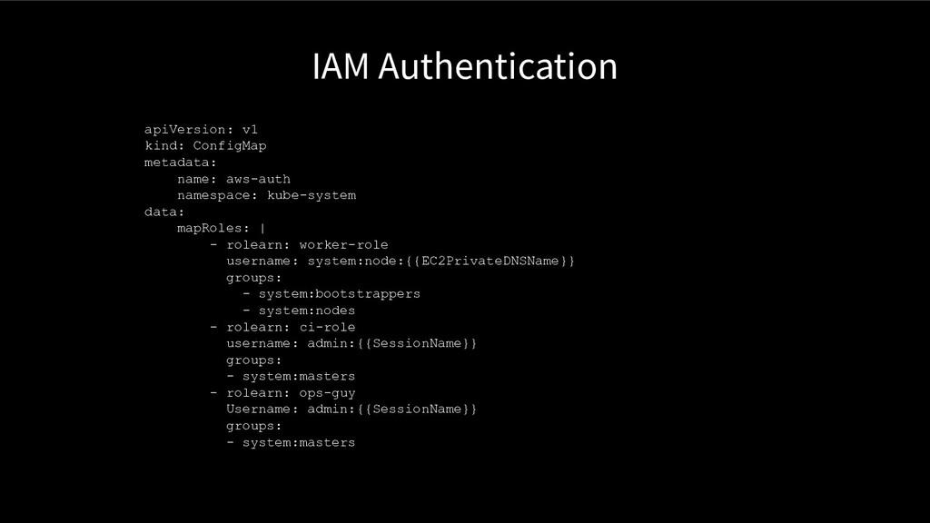 IAM Authentication apiVersion: v1 kind: ConfigM...