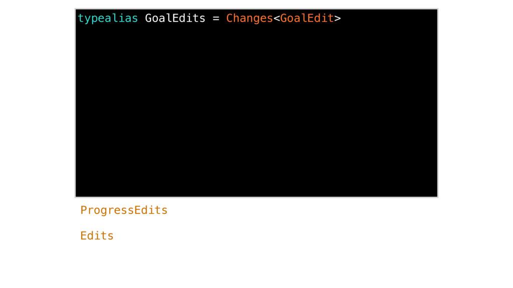 typealias GoalEdits = Changes<GoalEdit> Edits P...