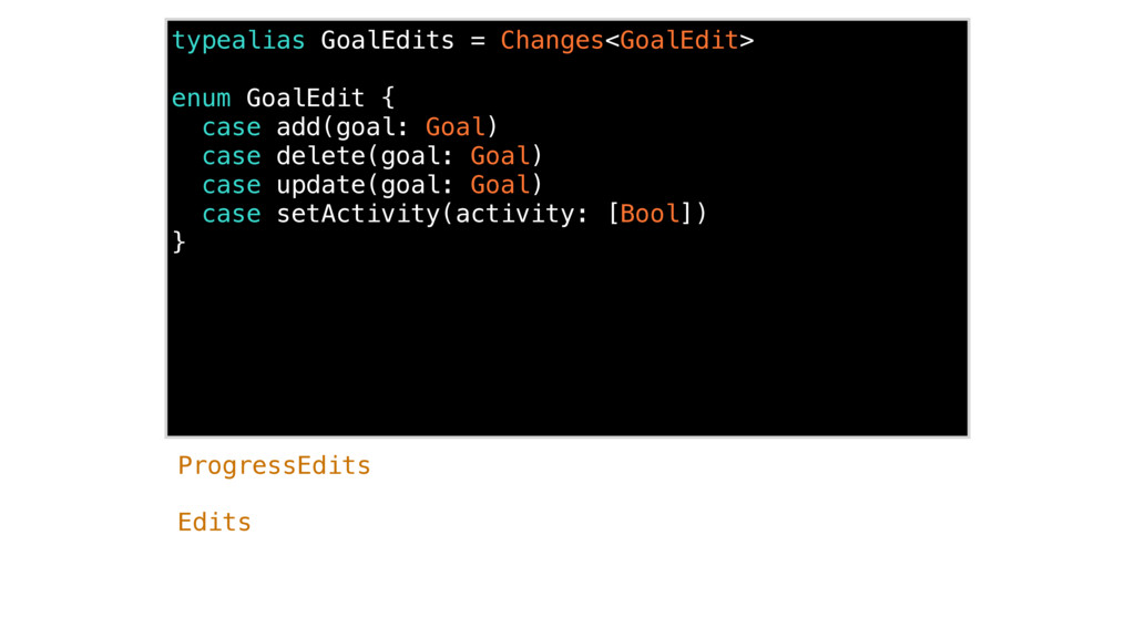 typealias GoalEdits = Changes<GoalEdit> enum Go...