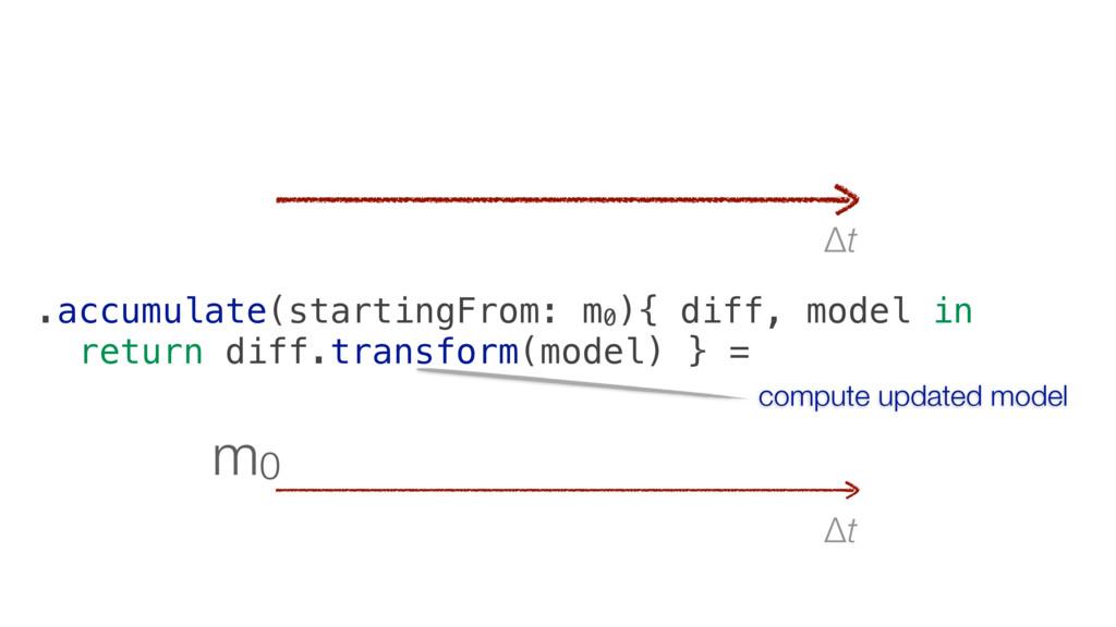 Δt m0 Δt .accumulate(startingFrom: m0 ){ diff, ...