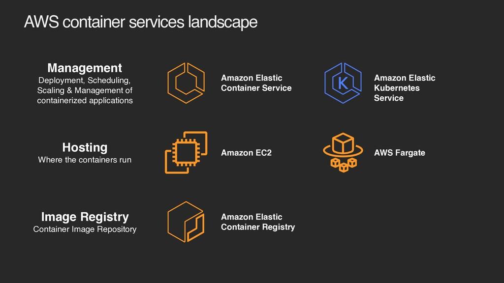 AWS container services landscape Management Dep...
