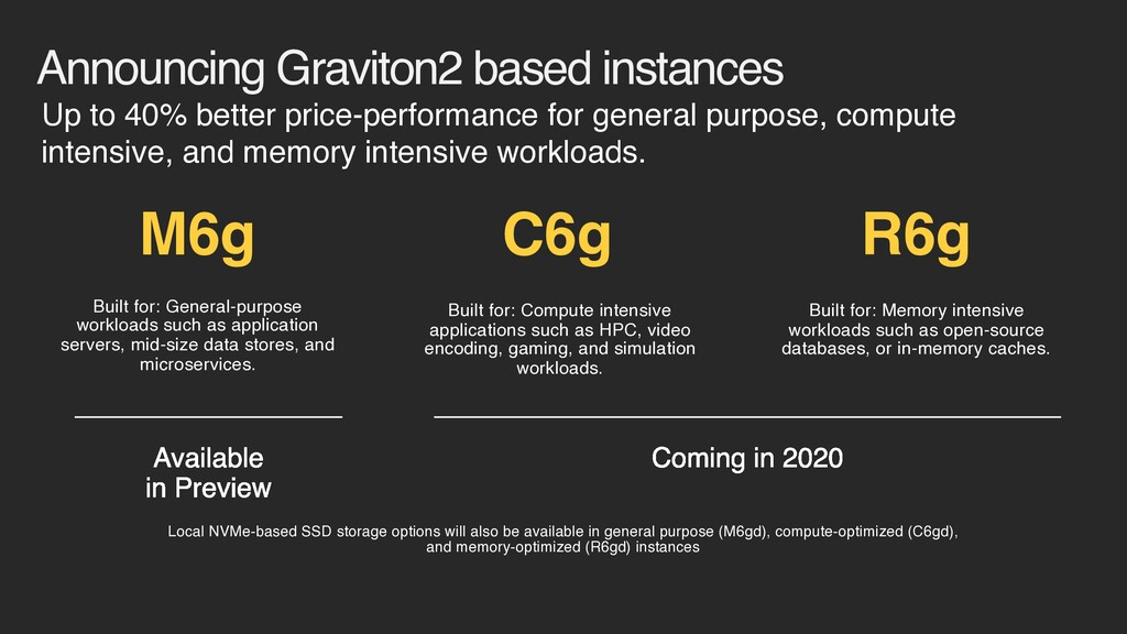 Announcing Graviton2 based instances Coming in ...