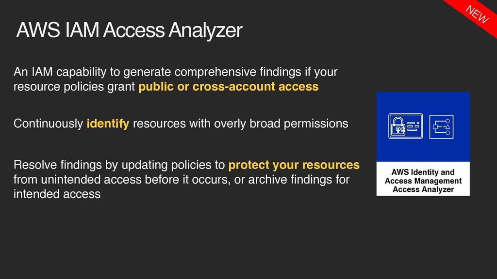 AWS IAM Access Analyzer An IAM capability to ge...