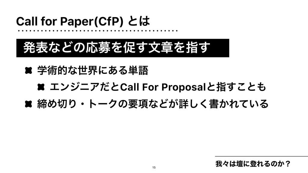 Call for Paper(CfP) ͱ զʑஃʹొΕΔͷ͔ʁ ֶज़తͳੈքʹ͋Δ୯ޠ ...