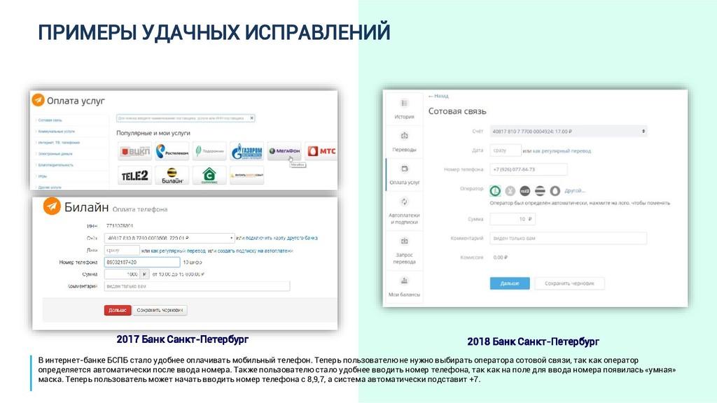 ПРИМЕРЫ УДАЧНЫХ ИСПРАВЛЕНИЙ 2017 Банк Санкт-Пет...