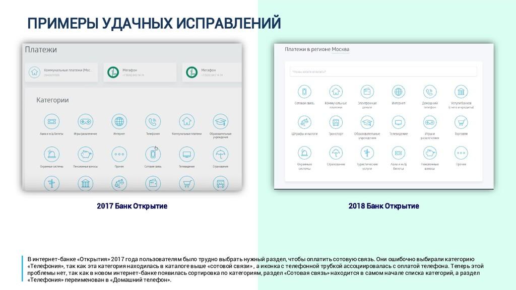 ПРИМЕРЫ УДАЧНЫХ ИСПРАВЛЕНИЙ 2017 Банк Открытие ...