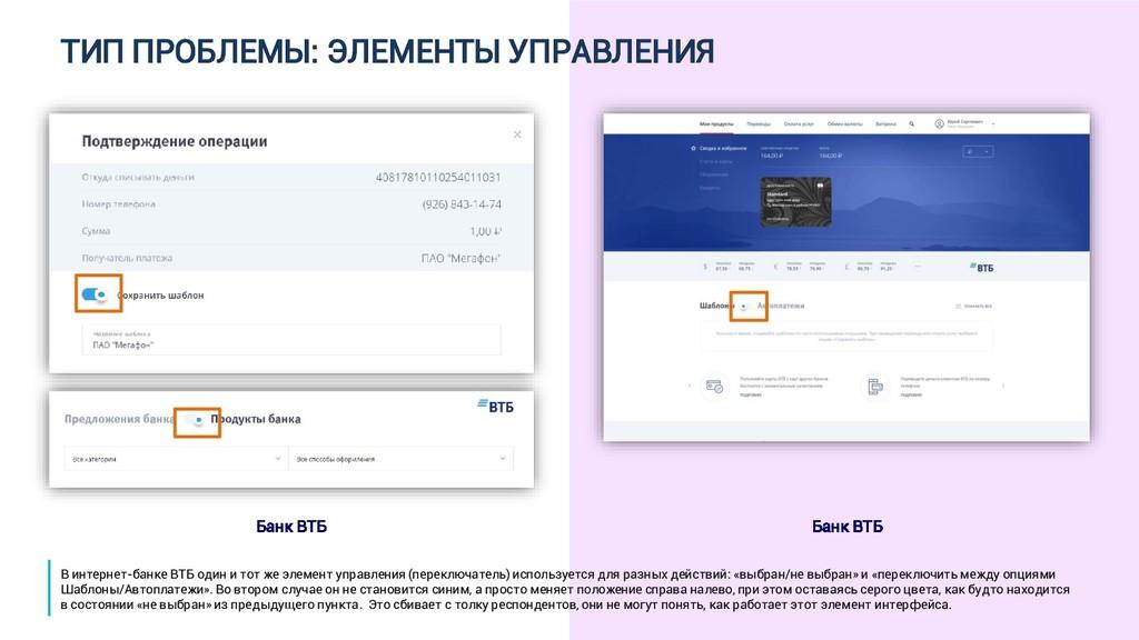 ТИП ПРОБЛЕМЫ: ЭЛЕМЕНТЫ УПРАВЛЕНИЯ Банк ВТБ Банк...