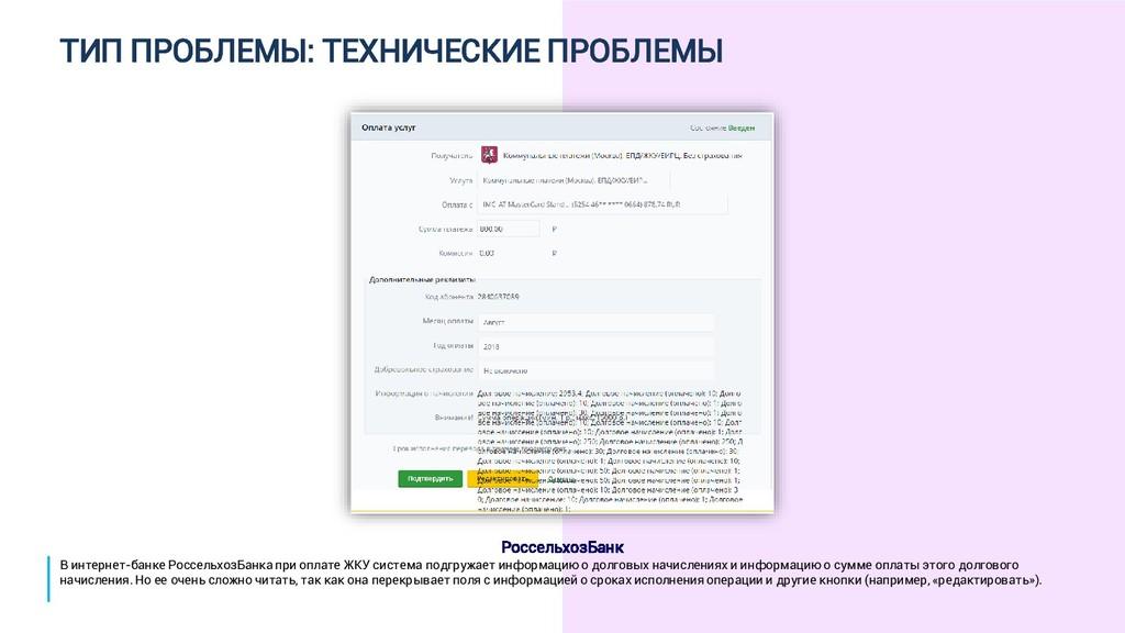 ТИП ПРОБЛЕМЫ: ТЕХНИЧЕСКИЕ ПРОБЛЕМЫ РоссельхозБа...