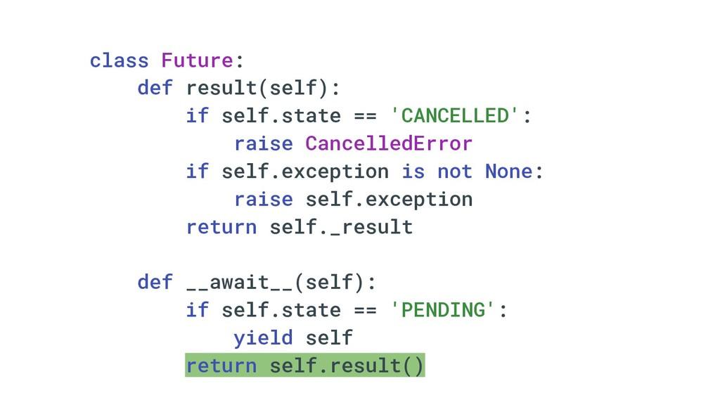 class Future: def result(self): if self.state =...