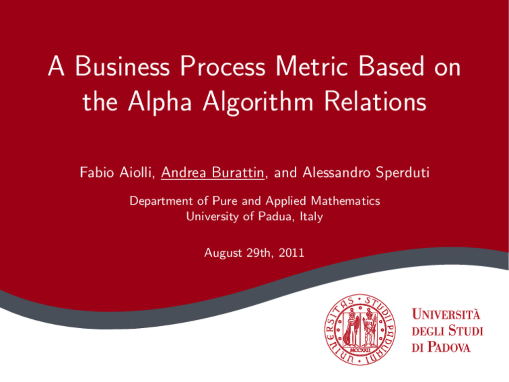 A Business Process Metric Based on the Alpha Al...