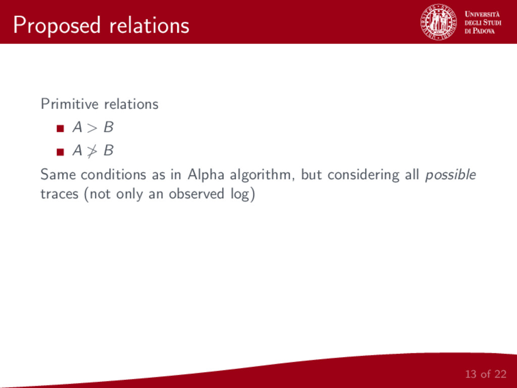 Proposed relations Primitive relations A > B A ...