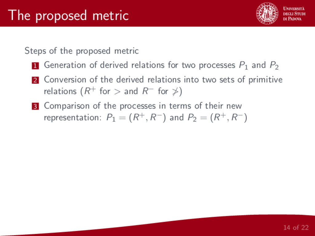 The proposed metric Steps of the proposed metri...