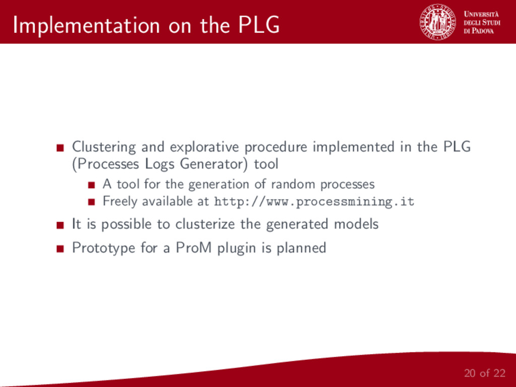 Implementation on the PLG Clustering and explor...