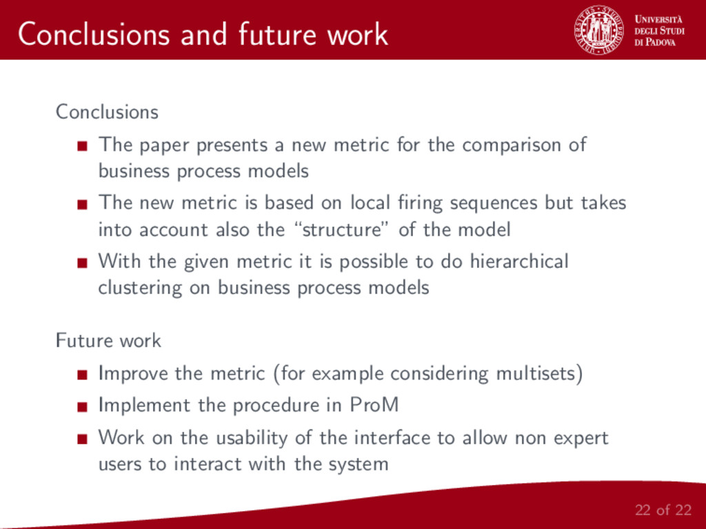 Conclusions and future work Conclusions The pap...
