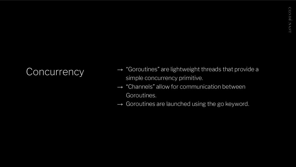 "Concurrency → ""Goroutines"" are lightweight thre..."