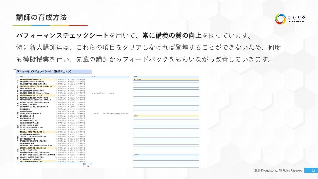 2021 Kikagaku, Inc. All Rights Reserved 講師の育成方法...