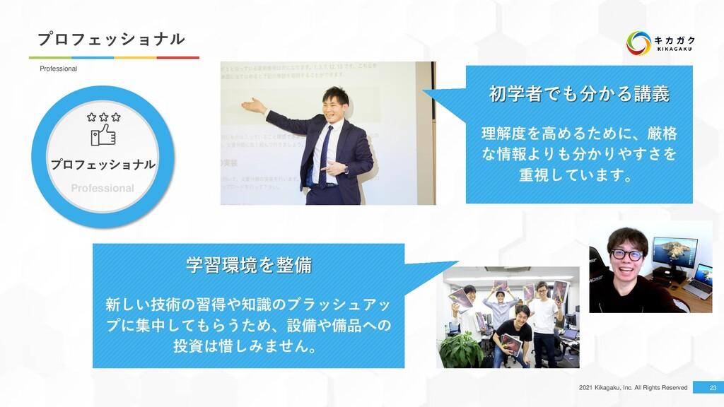 2021 Kikagaku, Inc. All Rights Reserved プロフェッショ...