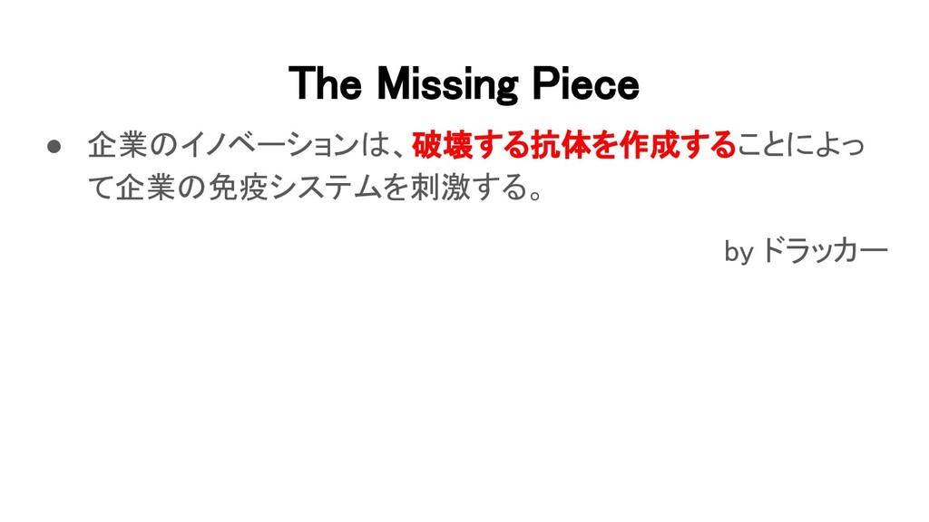 The Missing Piece ● 企業のイノベーションは、破壊する抗体を作成することに...