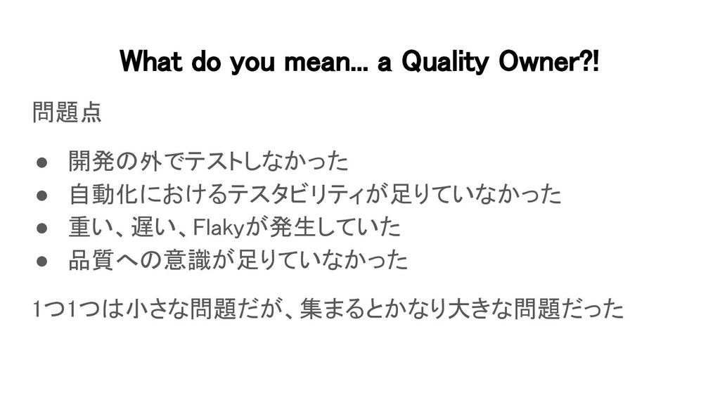 What do you mean... a Quality Owner?! 問題点 ● 開...