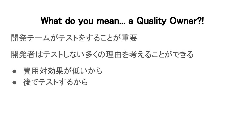 What do you mean... a Quality Owner?! 開発チームがテス...