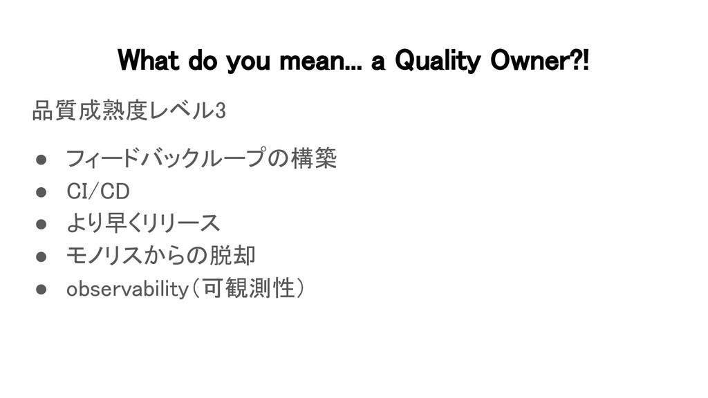 What do you mean... a Quality Owner?! 品質成熟度レベル...