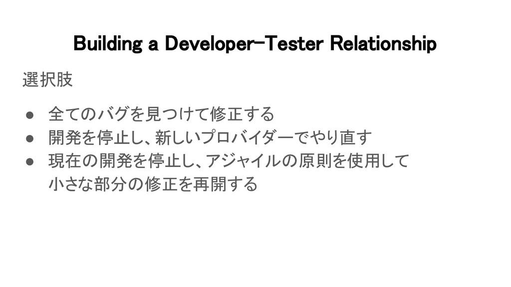 Building a Developer-Tester Relationship 選択肢 ...