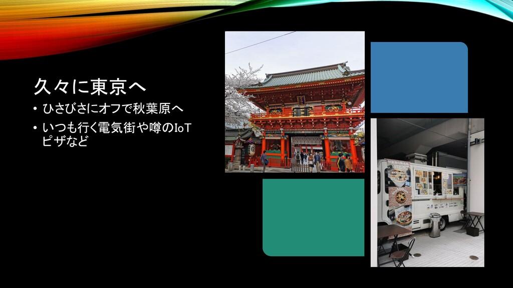久々に東京へ • ひさびさにオフで秋葉原へ • いつも行く電気街や噂のIoT ピザなど