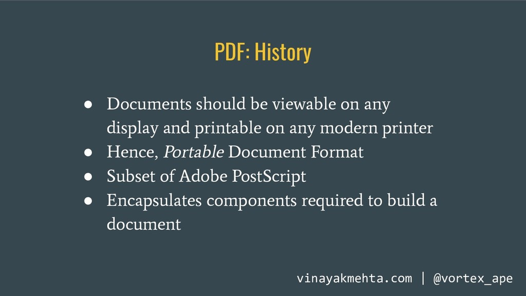PDF: History ● Documents should be viewable on ...