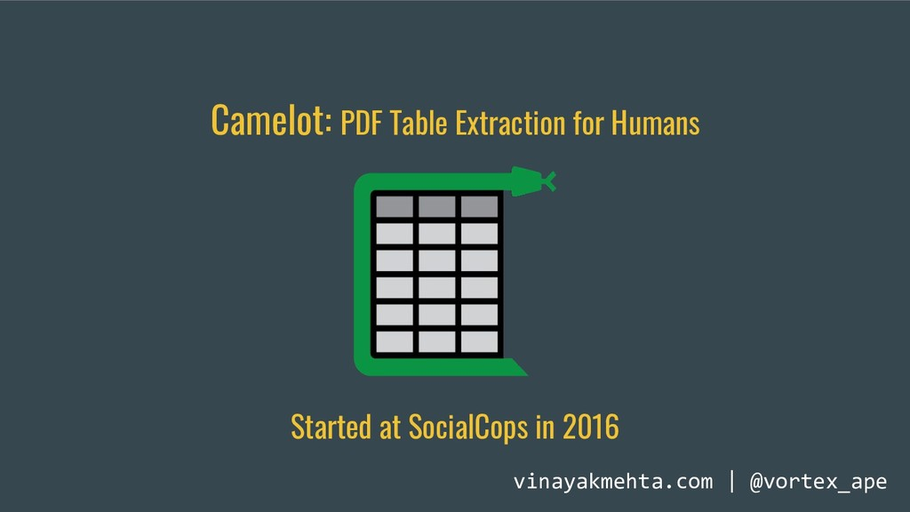 Camelot: PDF Table Extraction for Humans vinaya...