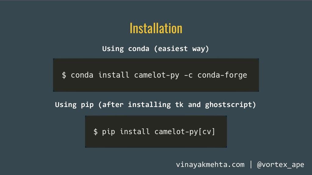 Installation Using conda (easiest way) Using pi...