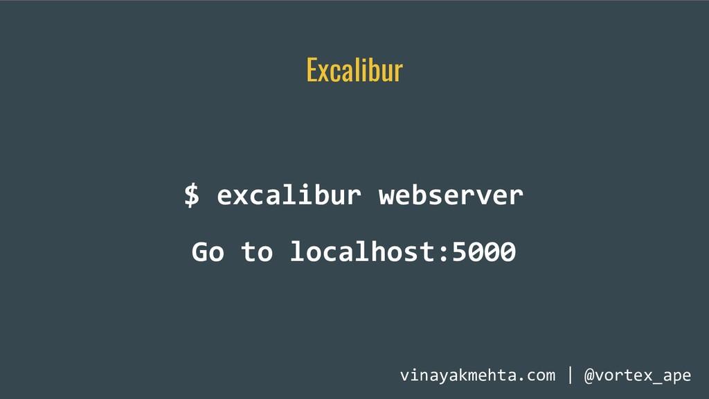 Excalibur $ excalibur webserver Go to localhost...