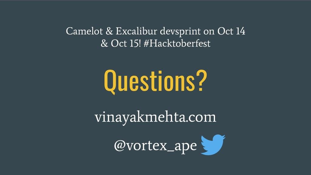 Questions? vinayakmehta.com @vortex_ape Camelot...