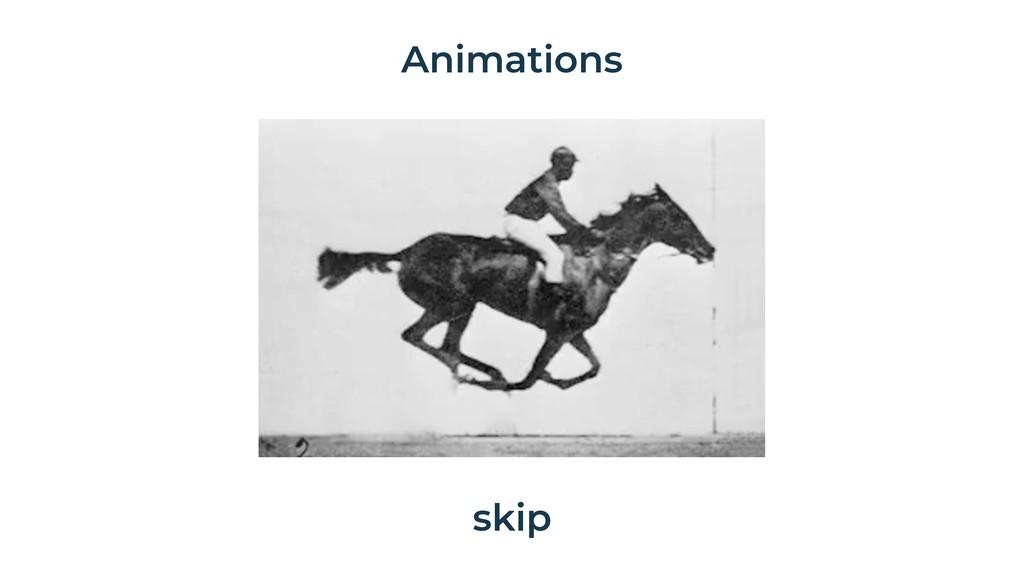 Animations skip
