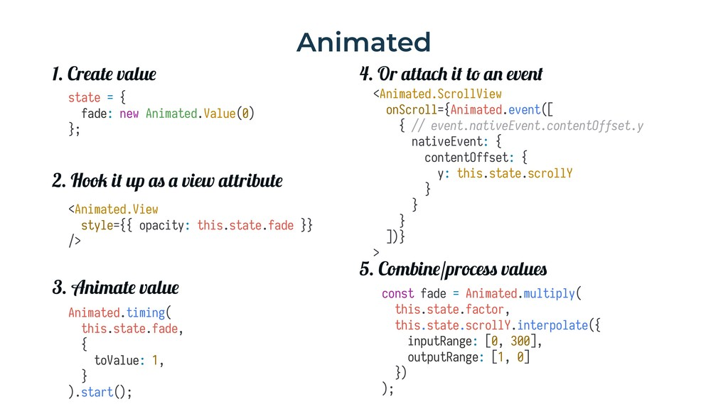 Animated state = { fade: new Animated.Value(0) ...