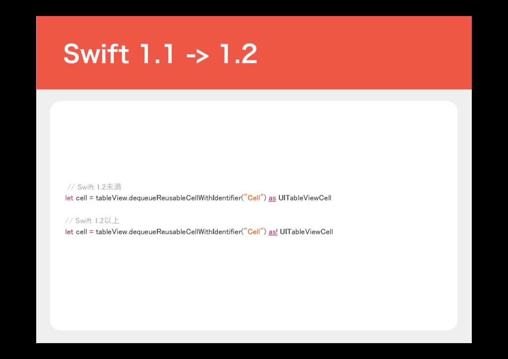 // Swift 1.2ະຬ let cell = tableView.dequeueReu...
